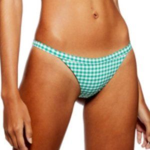Topshop Green Gingham Bikini Bottom